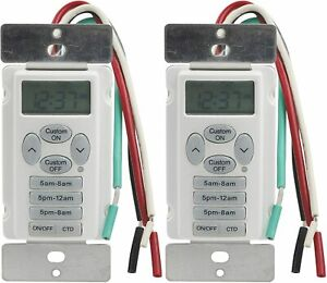 Details about 2 Pack In Wall Digital Timer w 3 Preset 1 Custom Program