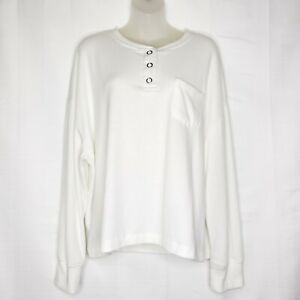 Out From Under For Urban Outfitters Henley Shirt Size Medium White Soft Fuzzy $22.00