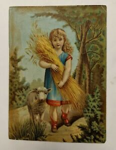 19th Century Victorian Chromolithography Print of Child amp; Pet Lamb Sheeves Wheat $30.00