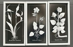 Wood Framed Hand made Moden Flower Leaves Wall Sculptures Premium White Paint AU $99.95