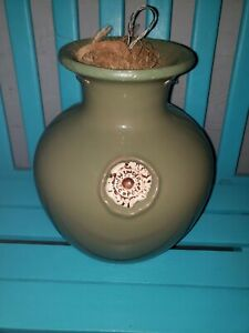 DOWN UNDER LARGE 12quot;X 9quot; Pot HANGING PLANTER GREEN TAN $45.00