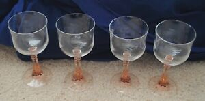 Vintage Wine Water Glasses Set of 4 Rose Stems Clear Glass $24.99