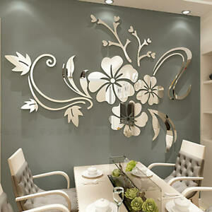 Fashion Flower 3D Mirror Wall Stickers Removable Decal Art Mural Home Decor