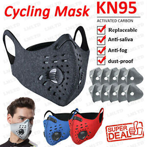 1 3Pcs Face Mask Reusable Outdoor Cycling Running Sport Masks With Carbon Filter $8.29