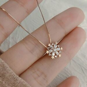 Luxury Zircon Crystal Snowflake Pendant Necklace Women Gold Chain Jewelry Gifts