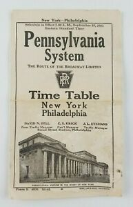 Pennsylvania System Train Philly to New York Sept 25 1921 Time Table Schedule $9.99