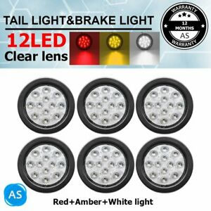 2X Red 2X Amber 2X Clear 12LED Stop Turn Reverse Back Lights 12V Trailer RV $47.49