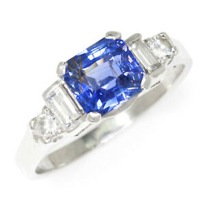 Blue Sapphire Engagement Ring with Diamonds Platinum 2.10ctw