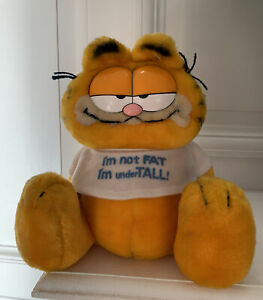 """Vintage Garfield Stuffed Toy """"I'm Not Fat I'm Under Tall"""" White Shirt With tags $25.00"""