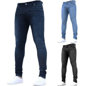 US Men#x27;s Slim Fit Jeans Super Stretch Denim Pants Skinny Casual Designer Jeans