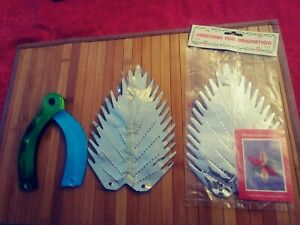 Three 1980s Foil Christmas Starburst Decorations Silver and Blue Green $27.00