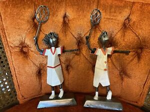 Tennis Couple Manuel Felguerez metal sculptures Mexico folk art 10 inch $94.95