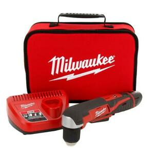 Milwaukee 2415 21 M12 3 8quot; 12 Volt Lithium Ion Cordless Right Angle Drill Kit $136.95