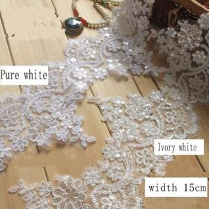 15CM*1 Yard Delicate Eyelash Embroidered Flower Sequin Lace trim Wedding sewing $4.99