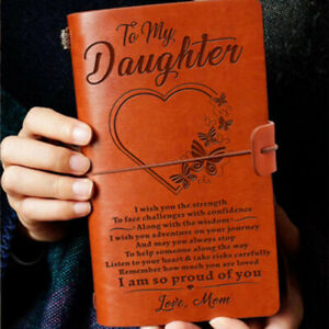 To My Daughter Love Mom Mother Engraved Leather Journal Notebook Diary Xmas Gift