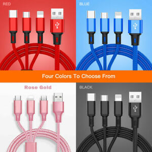 3 in 1 Fast USB Charging Cable Universal Multi Function Cell Phone Charger Cord $3.49