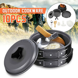 10Pcs Portable Camping Cookware Kit Outdoor Picnic Hiking Cooking Equipment NEW