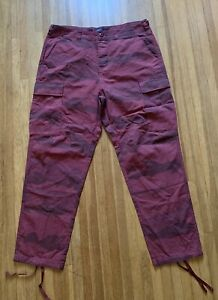 Stussy Red Camo Military BDU Cargo Pants Size 34.5 x 29.5 $50.00