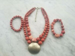 CHICO#x27;S Necklace Statement Red Coral Lava stone style Chunky Beaded