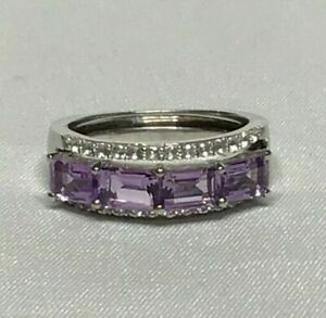 Gem Insider Set of Two Sterling Silver Amethyst amp; White Topaz Rings Size 8 New