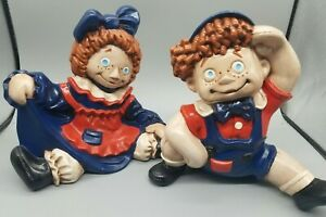 Raggedy Ann amp; Andy Hand painted ceramic dolls 1970 Byron Mold $34.75