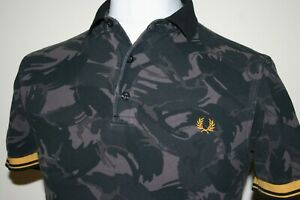 Fred Perry Black Grey Bright Yellow Twin Tipped Camouflage Polo Shirt S Camo Top