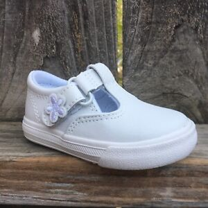 Keds Toddler Girls Shoes Daphne T Strap Lea White Leather $27.99