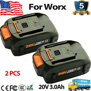 2 PACK 20 Volt For WORX WA3525 20V 3.0Ah Max Lithium Battery Power Tools WA3520