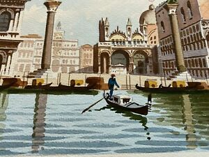 Original Signed Watercolor Painting Venice Italy Gondola and Venice Background $85.00
