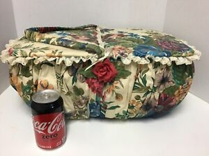 Vintage Very Large Sewing Basket Box Floral cloth w turquoise cloth EXTRAS $32.50