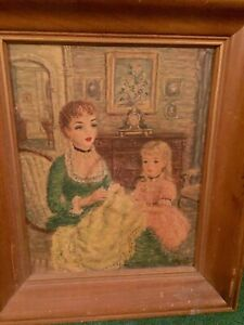 Vintage Victorian Painting Lady in Green Dress w Daughter in Pink Dress amp; Doll $60.00
