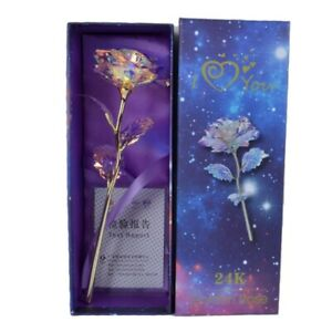 24K Gold Foil Rose Flower LED Mother#x27;s Day Valentine#x27;s Day Luminous Galaxy Gift $9.29