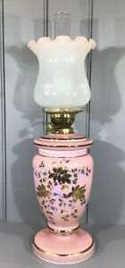 Victorian Oil Lamp Opaque Pink Hand Painted Glass Drop in Font GBP 150.00