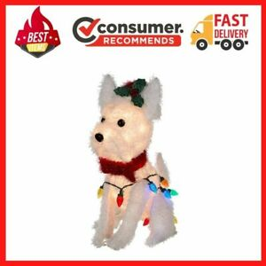 Holiday Time Light Up Fluffy White Terrier Outdoor Christmas Décor 22 in $17.86