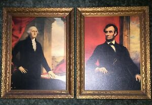 George Washington amp; Abe Lincoln Antique Print On Board sold as set $265.00