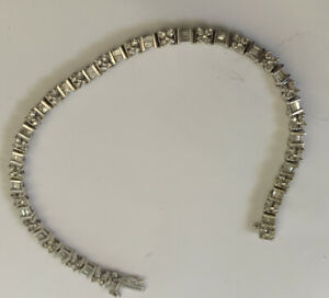 Baguette and Round Diamond tennis bracelet 14K SOLID White Gold 2.50 CTW ADL 14g