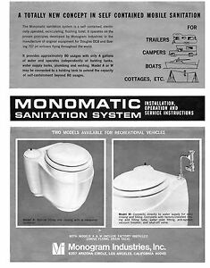 VINTAGE 1966 MONOMATIC RV TOILET INSTALLATION OPERATION amp; SERVICE MANUAL EMAIL