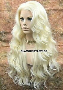 360 FREE PART HUMAN HAIR BLEND LACE FRONT WIG LONG WAVY LAYERED PLATINUM BLONDE $79.45