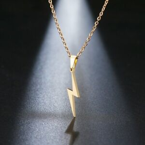 Stainless Steel Flash Lightning Pendant Necklace Women Clavicle Chain Jewelry
