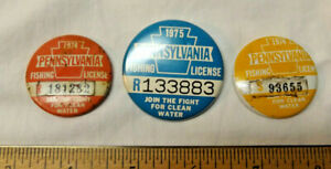3 PA FISHING LICENSE PINBACK BUTTONS 1975 1974 Res Senior badge Pennsylvania