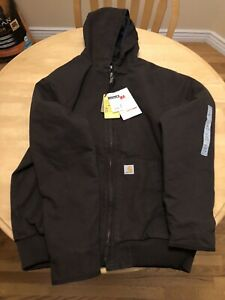 New Carhartt large tall w hoodie 3M thinsulate quilted lined dark brown jacket
