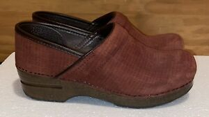 DANSKO Women's Brown Suede Professional Nursing Clogs Size US 8.5 9 EU 39