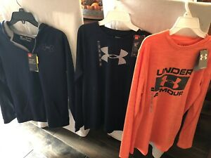 Boys Youth Under Armour Lot XL Long Sleeve Shirts Hoodie Zip Up Jacket NWT $65.00