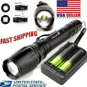 USA 350000LM T6LED Flashlight USB Rechargeable Lamp TorchBatteryDual Charger $7.38