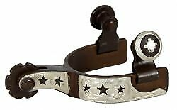 257654LQ Showman Ladies size Antique Brown Silver buckle tip and keeper spurs