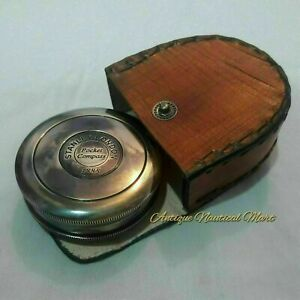 Vintage Nautical Brass Stanley London 1885 Compass With Leather Box Gift Item $22.00
