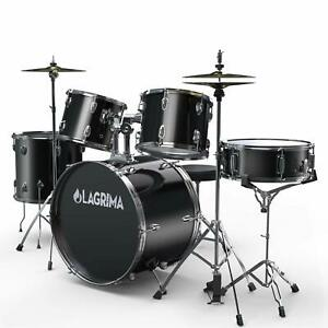 22quot;5 Piece Drum Set Full Size w StandCymbalsHi HatPedalStool Sticks Black $288.99