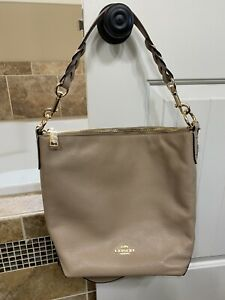 NWT Coach Abby Duffle Shoulder Leather Bag F31507 Taupe