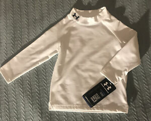 Under Armour Cold Gear Mock Compression Thermal Shirt Long Sleeve Sz 18M White $11.99