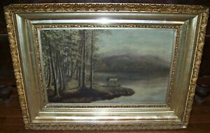 c1880 ANTIQUE VICTORIAN OIL CANVAS PAINTING STAG DEER ON LAKE ORNATE GESSO FRAME $165.00
